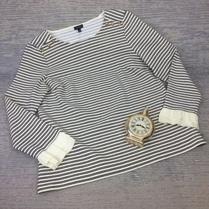 Talbots white green and navy striped top
